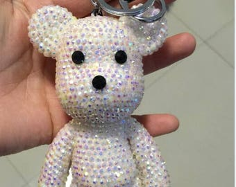 white Crystal Bear Keychains Cute Bling Keychains
