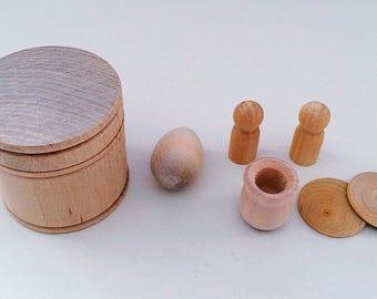 Wooden Play Set, Treasure Box, Loose Parts, Montessori Educational Activity, Teaching Aid, Classroom Resource