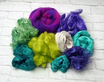 "Card it Up Kit with fibers for carding, spinning, felting or weaving 4 ounces in ""Vibrant Edge"" Purples, Greens, Turquoise and Teal"