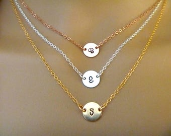 Choker Necklace - Initial Necklace - Personalized Custom Initials - Bridesmaid Gift - Rose gold fill, 14k gold fill, sterling silver