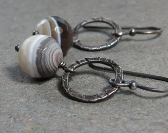 Botswana Agate Earrings Brown Gemstones Stripes Oxidized Sterling Silver