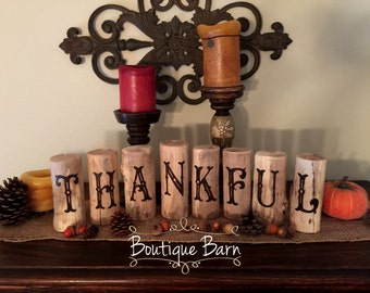 Thankful Sign/Wood Sign/Thankful/Fall Decor/Fall Signs/Rustic Decor/Farmhouse Decor/Country Decor/Woodland Forest/Handmade/Rustic Home/Fall