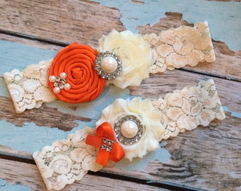 wedding garter / ORANGE  / bridal  garter/  lace garter / toss garter /  garter / vintage inspired lace garter/ U PICK Color