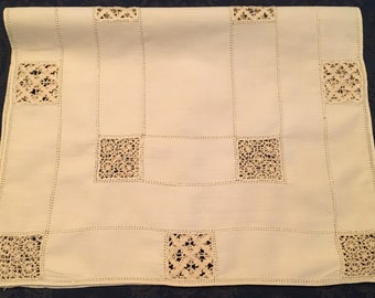 Vintage Hand Crafted Ecru Doily Table Runner with Intricate Whitework Textile Fiber Art 20 x 13 - R88