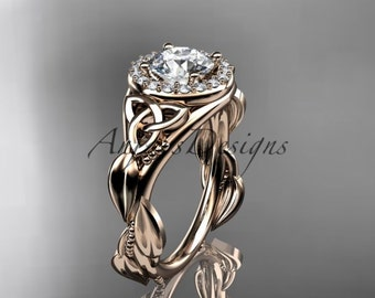 "Celtic engagement ring, 14kt rose gold diamond celtic trinity knot wedding ring with a ""Forever One"" Moissanite center stone CT7327"
