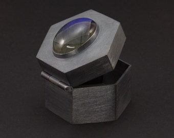 Geometrische Sterling Silber Pillendose - Lünette Set Labradorit - Präsentationsbox - Treasure Box - Sechseck-Box - Verlobungsring-Kasten