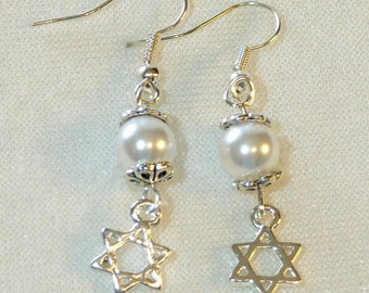 Star of David Earrings - White Glass Pearl