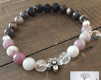 "Natural Stone Elastic Bracelet - ""Soothing Vibes"" (Lilac Jasper, Purple Creek Jasper, and Lava Rock)"