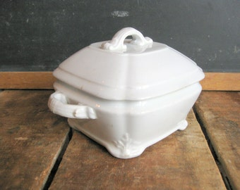 Antique Ironstone Tea Caddy, 1890s White Ironstone Small Tureen, J&G Meakin, Square Ironstone Sugar Bowl with Lid