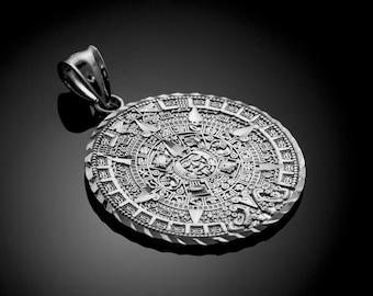 Sterling Silver Aztec Mayan Sun Calendar Pendant (small, medium, large)