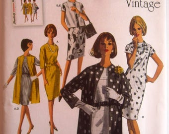Misses 60s Style Dress and Unlined Coat or Vest in Two Lengths Sizes 6 8 10 12 14 Simplicity Pattern 1284 UNCUT