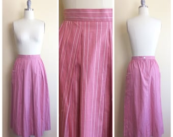 80s Salmon Pink Cotton High Waisted Skirt / 1980s / Vintage / Candy Striper Striped Skirt With Pockets / Medium