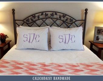 Large Font Monogrammed Pillow Shams - Set of Two - Standard Size