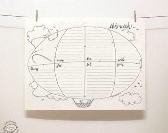 DOODLE Perpetual Weekly Planner / Organizer: Blimp | Printable Letter Size pdf template | Unique Creative Artistic Management Reminder Tool