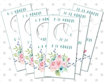 Baby Nursery Closet Organizers and Dividers, Printable Watercolor Flowers, Baby clothes, Baby Girl Flowers Closet Dividers, DIGITAL FILES
