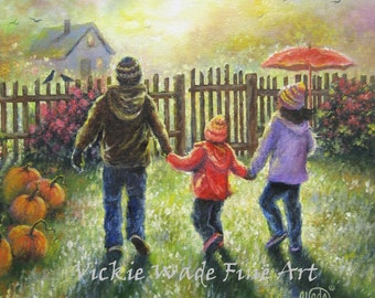 Three Children Art Print autumn paintings pumpkins two boys one girl, two brothers and sister, hand in hand siblings,fall, Vickie Wade art