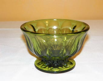 Anchor Hocking Olive Green Footed Candy Dish in the Fairfield Pattern, Perfect for Dip or Side Dishes