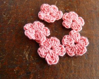 Crochet flower applique, 15 crochet mini flowers embellishments, cotton applique, flower, Shabby chic, Scrapbooking, crochet ornament, cards