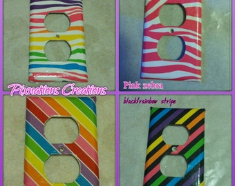 Neon outlet covers! Bright & fun! Rainbow! Zebra room! Fun room decor, kids room, play room!