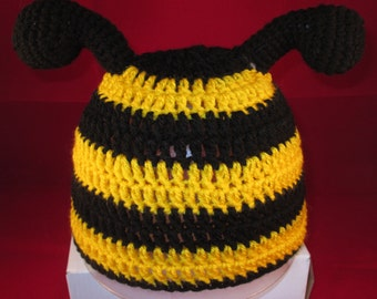 Crochet Bumble bee hat,  All sizes available. Made to Order Only!