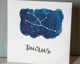 Taurus Constellation Painting - Galaxy, Night Sky, Stars, Original Watercolor, Birthday Present, April Birthday, May Birthday, Zodiac Gift