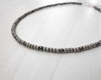 Beaded choker necklace grey bead necklace hematite stones necklace unisex beaded necklace for men for women