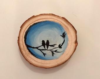 Lovebird painting magnet