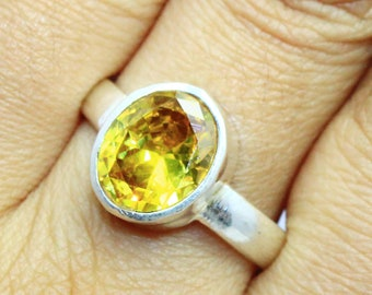 24.70Ct Certified US Size-9 Beautiful Yellow Citrine Ring Gems 925 Sterling Silver AU4114