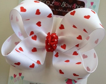 Valentine Bow -- white bow with red hearts -- boutique bow for Valentines' Day