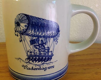 Blue Delft Father's Day Mug with Dirigible