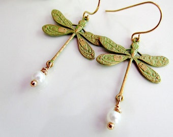 Dragonfly Earrings, Sage Green, Necklace Set, Woodland Dragonfly, Dragonfly Jewelry, Bridesmaid Jewelry, Gift for Her, Wedding