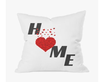 Home Worded Printed Handmade Red Heart Cushion/Cushion Cover/Pillow - Free UK Shipping