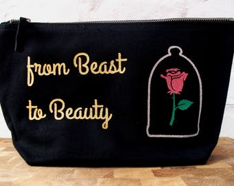 Beauty and the Beast, Beauty and the Beast Gift, Beauty and the Beast Makeup Bag, Beauty and the Beast Cosmetic Bag, Beast Toiletry Bag