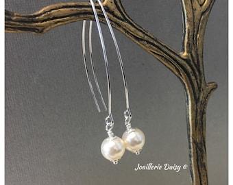 Dorp Earrings Bridesmaid Gift Bridesmaid Earrings Wedding Jewelry Gift for Her Dangle Earrings Maid of Honor Simple Earrings Pearl Earrings