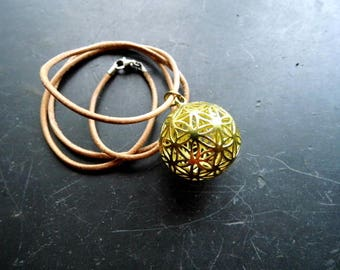 Necklace, pendant, leather strap, flower of life, ball, unisex