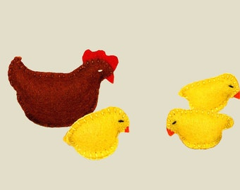 Hen and Chicks, Felt Chickens, Stuffed Chickens, Felt Chicks, Chicken