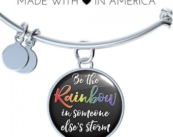 Be The Rainbow In Someone Else's Storm Expandable Bangle, LGBT Ally Pride Gift, LGBTQ Jewelry, LGBTQ Pride, Engraved