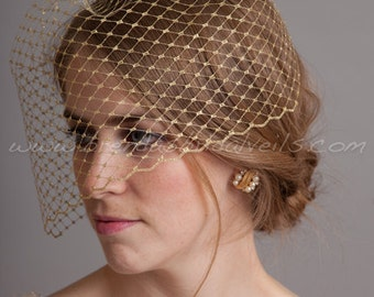 "Silver or Gold Metallic 9"" Birdcage Veil, Bridal Veil, Wedding Veil"
