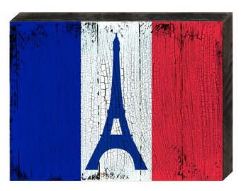 FLAG OF FRANCE - Rustic Wooden Block