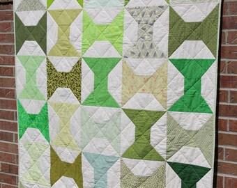 Green Handmade Quilt, Modern Patchwork Throw Quilt, Traditional Quilt