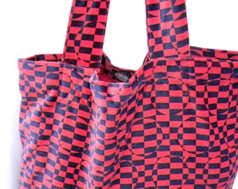 Grocery Market Carry All Tote Bag Velvet Psychedelic