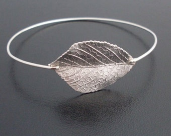 Leaf Bracelet, Silver Plated Charm, Nature Jewelry, Aspen Leaf Jewelry, Leaf Bangle, Silver-Filled or Sterling Band, Frosted Willow