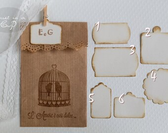 Mini labels ivory customizable-set of 30