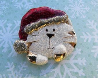 Estate DaneCraft Christmas Cat with Santa Hat Brooch Pin Rare