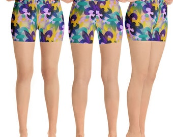 Mardi Gras fleur de lis party beach yoga shorts from my art.