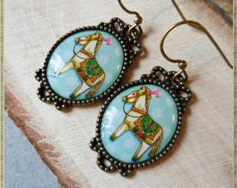 White horse earrings, pony horse mint blue, dangle earrings, horse jewelry antique brass bronze vintage style pet animal gift for girl women