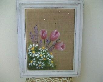 Spring Flowers Burlap Memo Board