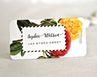 Chic Modern Roses Personalized Metal Travelling Luggage Baggage Suitcase Tags