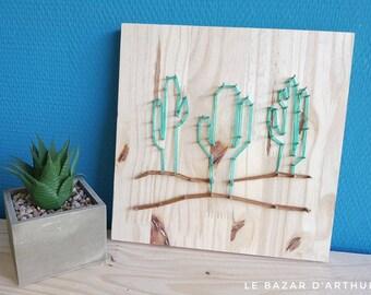 Cactus handmade stringart handmade wood and wool