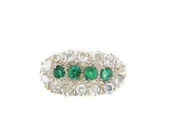 14 Karat Yellow Gold and Platinum Emerald and Diamond Ring, Vintage Emerald Ring, Diamond Ring, May Birthstone, Birthstone Ring